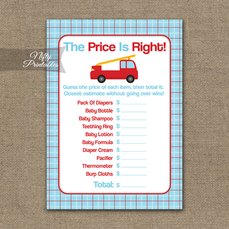 photo about Baby Shower Price is Right Printable referred to as Cost Is Straight Little one Shower Recreation - Fireplace Truck