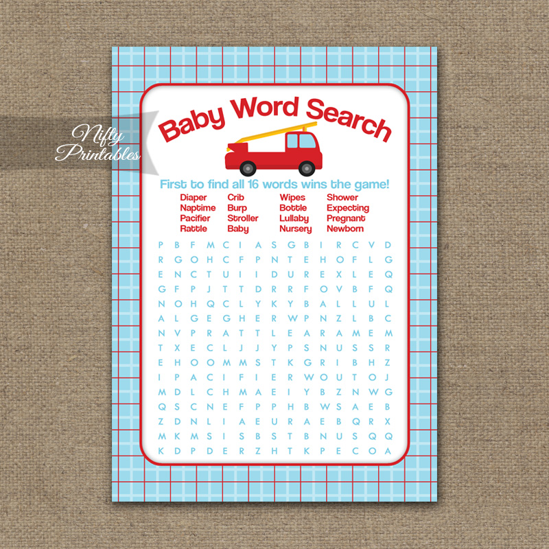 Baby Shower Word Search Game - Fire Truck