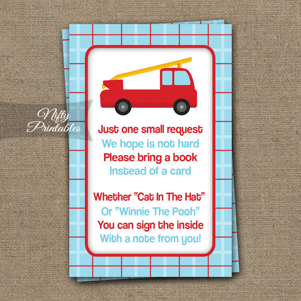 Bring A Book Baby Shower Insert - Fire Truck