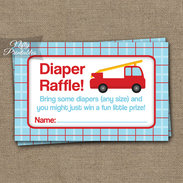 Diaper Raffle Baby Shower - Fire Truck