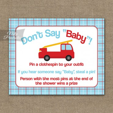 Don't Say Baby Shower Game - Fire Truck