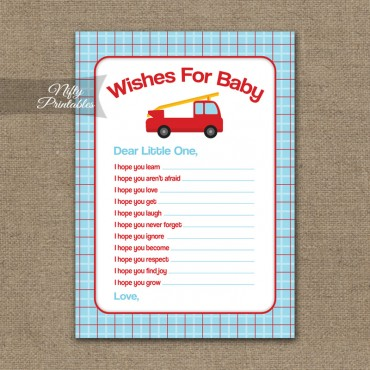 Wishes For Baby Shower Game - Fire Truck