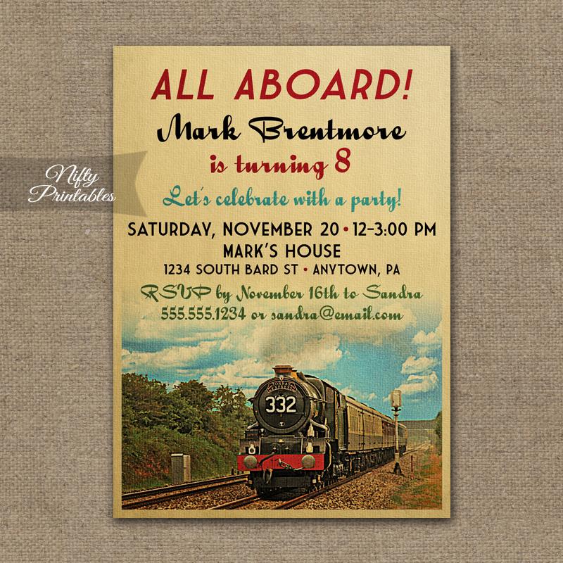 Train Birthday Invitations VintageTrainBday