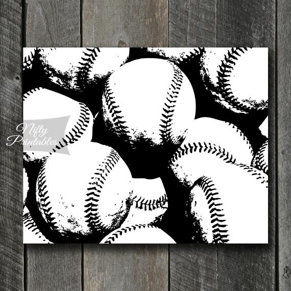 Baseball Print - Black & White