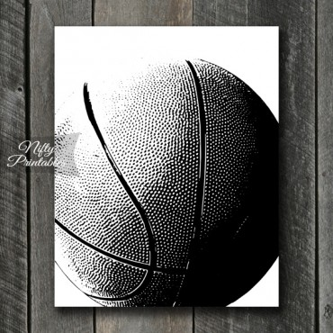 Basketball Print - Black & White