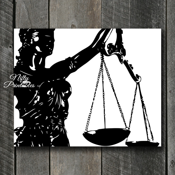 Lady Justice Law Print - Black & White