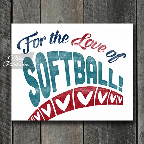 Softball Art Print - For Love