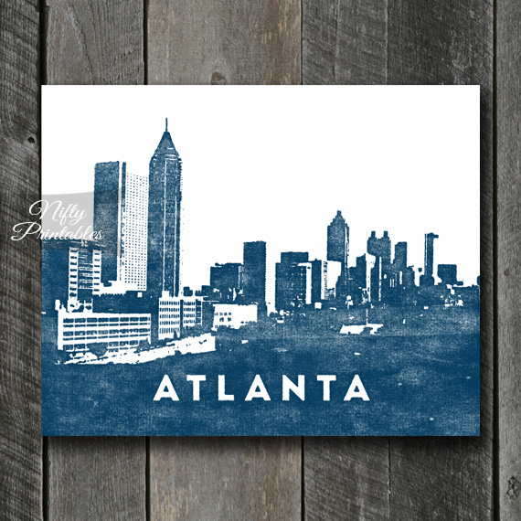 Atlanta Skyline Print Instant Download Atlanta Georgia
