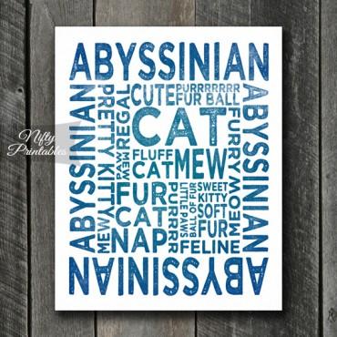 Abyssinian Art Print - Cat Typography