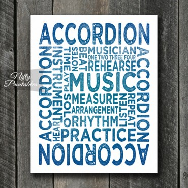 Accordion Print Art - Music Typography