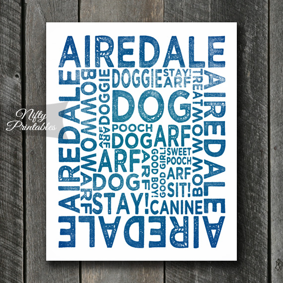 Airedale Art Print - Dog Typography