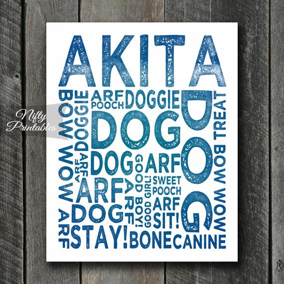 Akita Art Print - Dog Typography