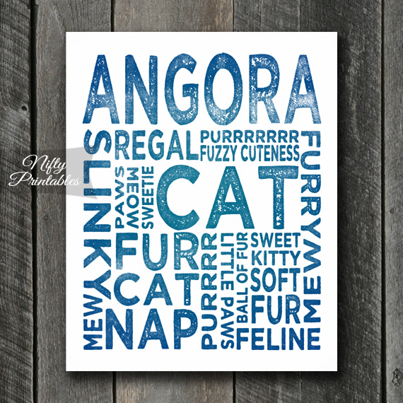 Angora Art Print - Cat Typography
