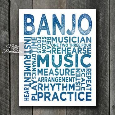 Banjo Print Art - Music Typography