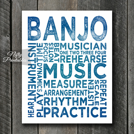 Banjo Print Art - Music Typography