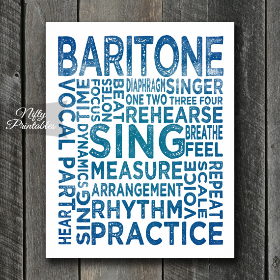 Baritone Print Art - Music Typography