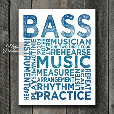 Bass Print Art - Music Typography