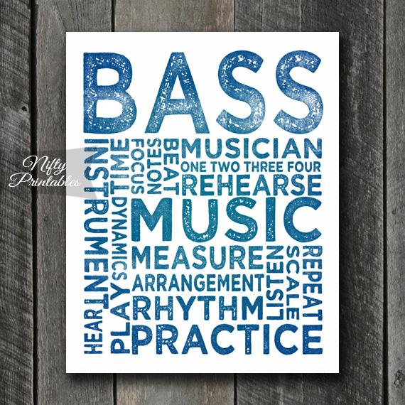 Bass Print Art - Music Typography