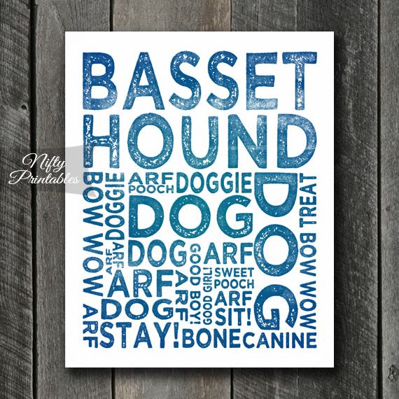 Basset Hound Art Print - Dog Typography