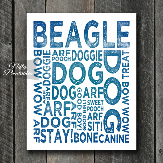 Beagle Art Print - Dog Typography
