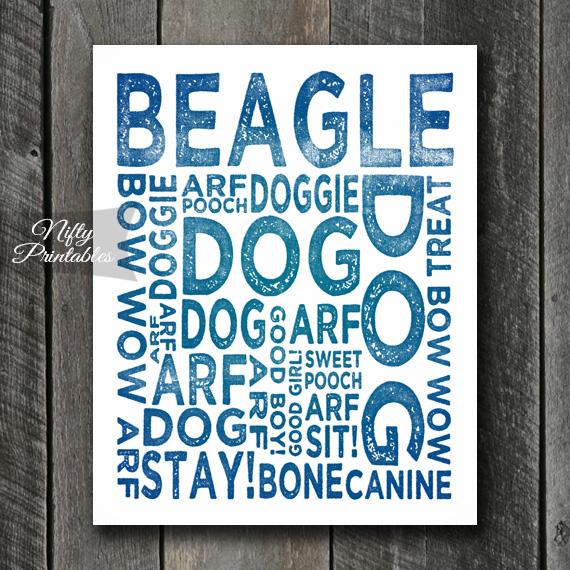 Beagle Art Print - Dog Typography