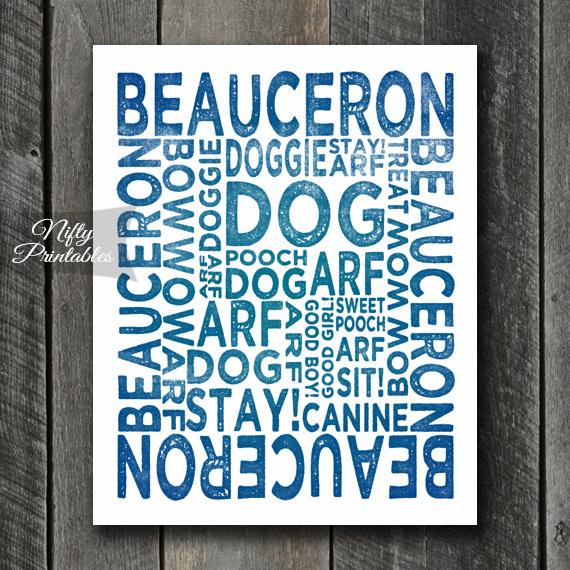 Beauceron Art Print - Dog Typography