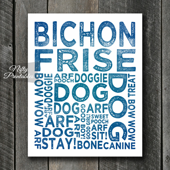 Bichon Art Print - Dog Typography