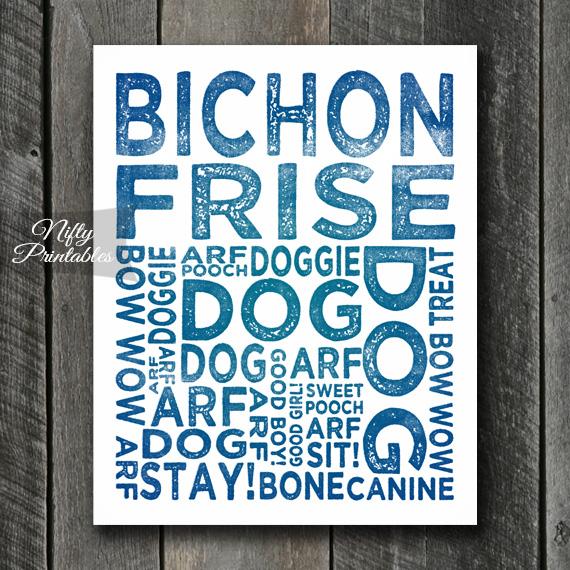 Bichon Art Print - Dog Typography