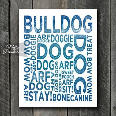 Bulldog Art Print - Dog Typography