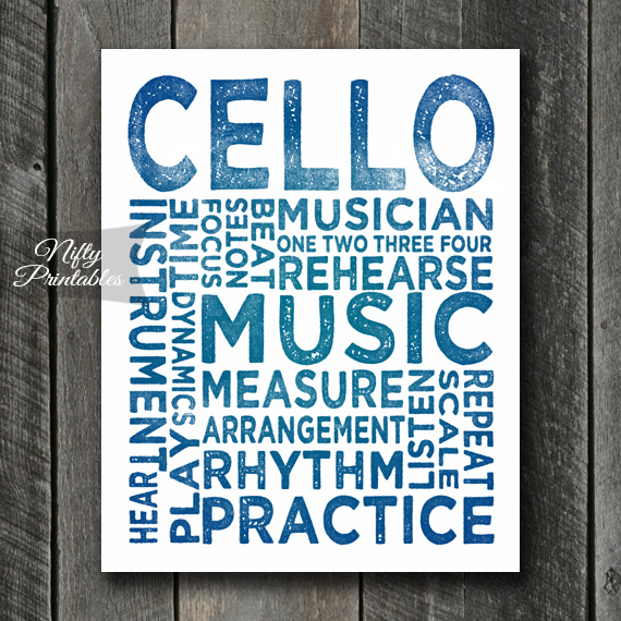 Cello Print Art - Music Typography