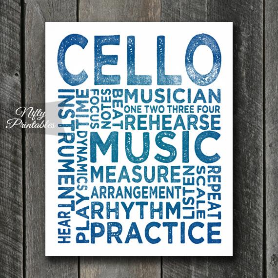 Cello Print Art - Music Typography