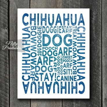 Chihuahua Art Print - Dog Typography