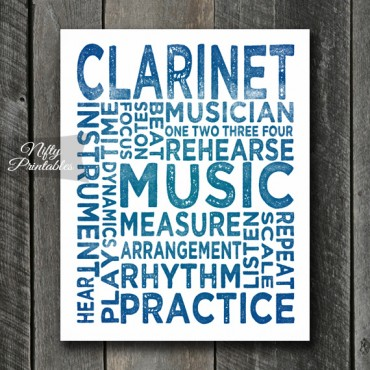 Clarinet Print Art - Music Typography