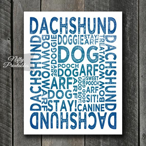 Dachshund Art Print - Dog Typography