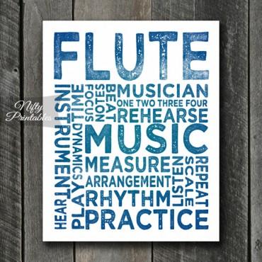 Flute Print Art - Music Typography