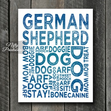 German Shepard Art Print - Dog Typography