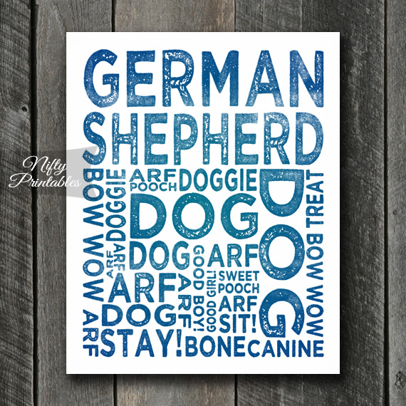 German Shepard Art Print - Dog Typography