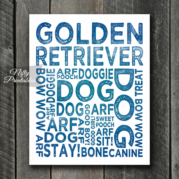 Golden Retriever Art Print - Dog Typography