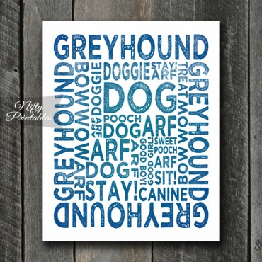 Greyhound Art Print - Dog Typography