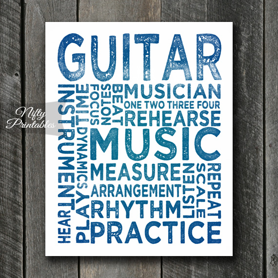 Guitar Print Art - Music Typography