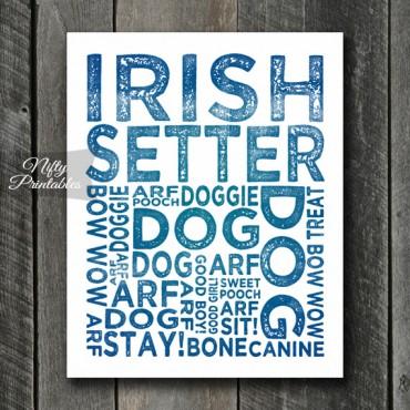 Irish Setter Art Print - Dog Typography
