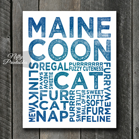 Maine Coon Art Print - Cat Typography