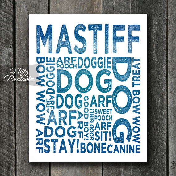Mastiff Art Print - Dog Typography