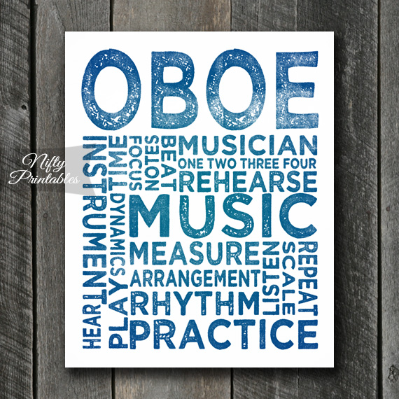Oboe Print Art - Music Typography