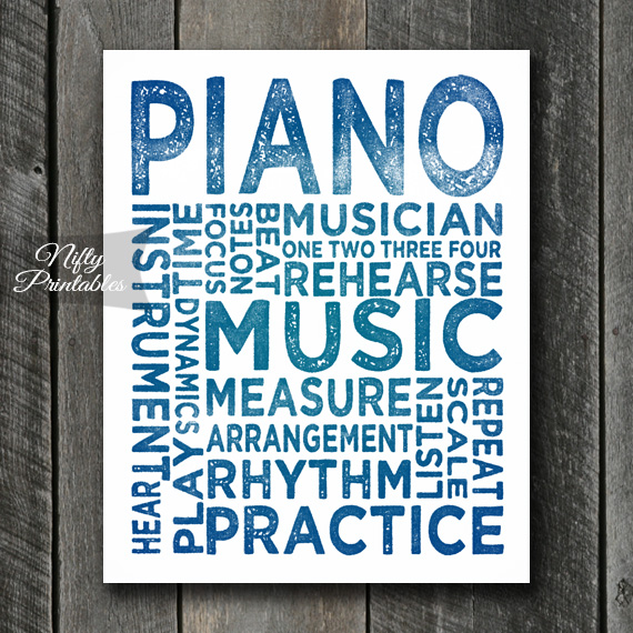 Piano Print Art - Music Typography