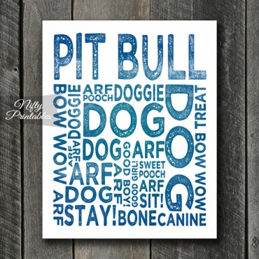 Pit Bull Art Print - Dog Typography