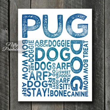 Pug Art Print - Dog Typography