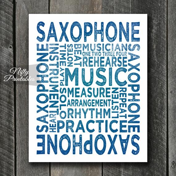 Saxophone Print Art - Music Typography
