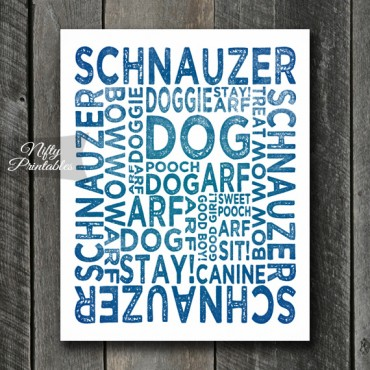 Schnauzer Art Print - Dog Typography