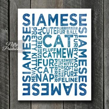 Siamese Cat Art Print - Cat Typography